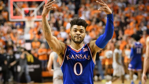 Mar 4, 2017; Stillwater, OK, USA; Kansas Jayhawks guard Frank Mason III (0) reacts after the game against the Oklahoma State Cowboys at Gallagher-Iba Arena. Kansas won 90-85. Mandatory Credit: Rob Ferguson-USA TODAY Sports
