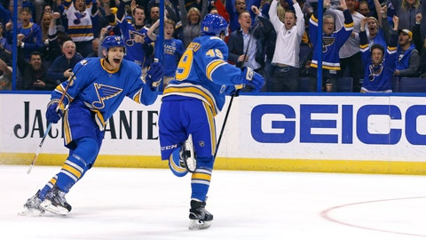 Schwartz Scores Twice, Blues Beat Coyotes 4-1