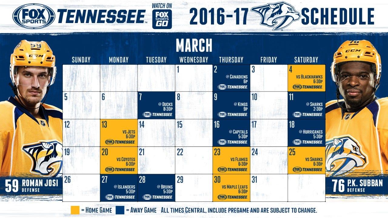 Predators schedule