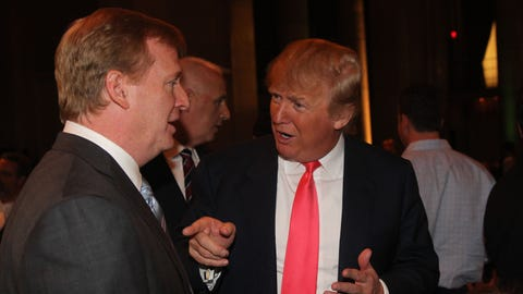 Donald Trump and Roger Goodell attend the NY Jets kickoff luncheon party at Cipriani Wall Street on August 27, 2008 in New York. (Photo by Al Pereira/Michael Ochs Archives/Getty Images)