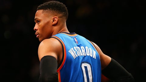 NEW YORK, NY - MARCH 14:  Russell Westbrook #0 of the Oklahoma City Thunder looks on against the Brooklyn Nets at Barclays Center on March 14, 2017 in in the Brooklyn borough of New York City. NOTE TO USER: User expressly acknowledges and agrees that, by downloading and or using this photograph, User is consenting to the terms and conditions of the Getty Images License Agreement.  (Photo by Mike Stobe/Getty Images)