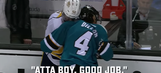 Two NHL players share a pleasant conversation moments after punching one another