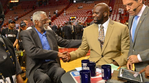 MIAMI, FL - JUNE 18: Hall of Famer Bill Russell and Shaquille O'Neal of NBATV discusses the game of the Miami Heat against the San Antonio Spurs during Game Six of the 2013 NBA Finals on June 18, 2013 at American Airlines Arena in Miami, Florida. NOTE TO USER: User expressly acknowledges and agrees that, by downloading and or using this photograph, User is consenting to the terms and conditions of the Getty Images License Agreement. Mandatory Copyright Notice: Copyright 2013 NBAE (Photo by Jesse D. Garrabrant/NBAE via Getty Images)