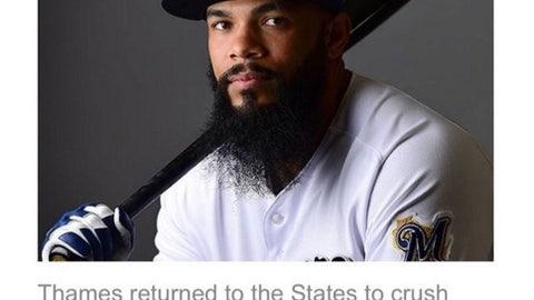 Eric Thames, Brewers first baseman