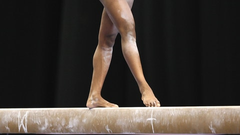 SAN JOSE, CA - AUGUST 16: A general view as a competitor competes during the balance beam portion of the 2007 Visa Gymnastics Championship on August 16, 2007 at the HP Pavillion in San Jose, California. (Photo by Jed Jacobsohn/Getty Images)