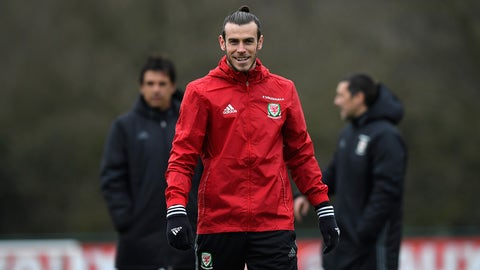 CARDIFF, WALES - MARCH 23:  Wales player Gareth Bale in action during a Wales Open Training session ahead of their World Cup Qualifier against the Republic of Ireland at the Vale Hotel on March 23, 2017 in Cardiff, Wales.  (Photo by Stu Forster/Getty Images)