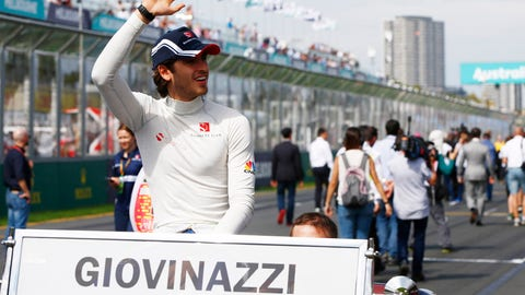 Antonio Giovinazzi waves to the crowd during the drivers parade. (Photo: LAT Images)