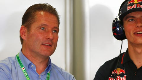 (From left) Jos Verstappen seen with son Max Verstappen in 2014. (Photo: Andrew Hone/LAT Photographic)