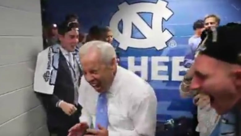 Watch the wild postgame celebrations by North Carolina players and fans