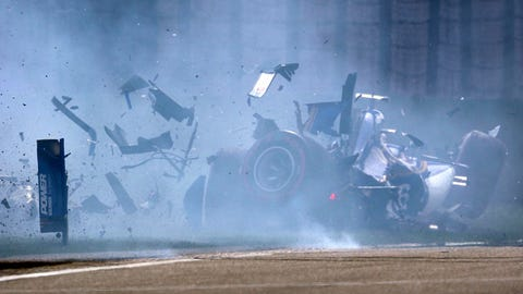 Sauber driver Antonio Giovinazzi of Italy crashes into the wall during the qualifying session for the Chinese Formula One Grand Prix at the Shanghai International Circuit in Shanghai, China, Saturday, April 8, 2017. (AP Photo/Mark Schiefelbein)