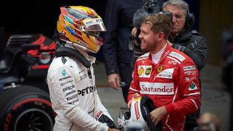 Lewis Hamilton finished ahead of Sebastian Vettel at Sunday's Chinese GP. (Photo: Steve Etherington/LAT Images)