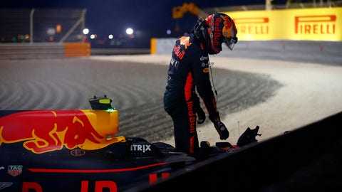 Max Verstappen climbs out of his car after retiring with brake failure. (Photo: Andrew Hone/LAT Images)