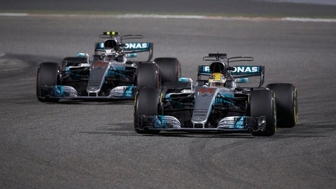 The Mercedes teammates finished second and third at the Bahrain GP. (Photo: Steve Etherington/LAT Images)