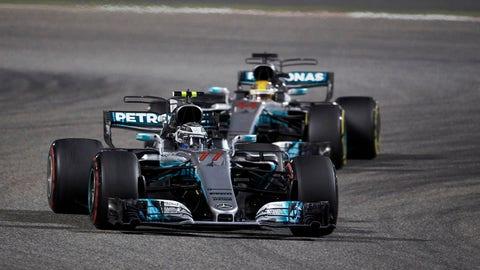 Valtteri Bottas let Lewis Hamilton by twice during the Bahrain GP. (Photo: Steve Etherington/LAT Images)