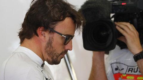 Fernando Alonso's McLaren-Honda broke down on the formation lap for the Russian GP. (AP Photo/Pavel Golovkin)