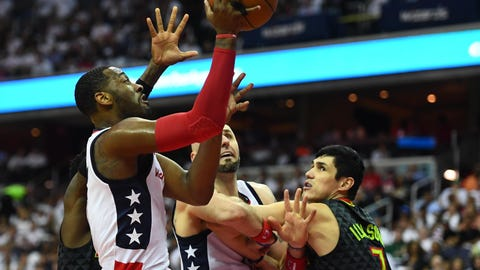 Apr 16, 2017; Washington, DC, USA; Washington Wizards guard John Wall (2) shoots as Atlanta Hawks forward Ersan Ilyasova (7) looks on during the second half in game one of the first round of the 2017 NBA Playoffs at Verizon Center. Mandatory Credit: Brad Mills-USA TODAY Sports