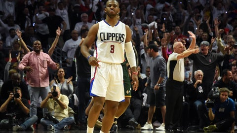 April 25, 2017; Los Angeles, CA, USA; Los Angeles Clippers guard Chris Paul (3) reacts after he scores a basket against the Utah Jazz during the second half in game five of the first round of the 2017 NBA Playoffs at Staples Center. Mandatory Credit: Richard Mackson-USA TODAY Sports