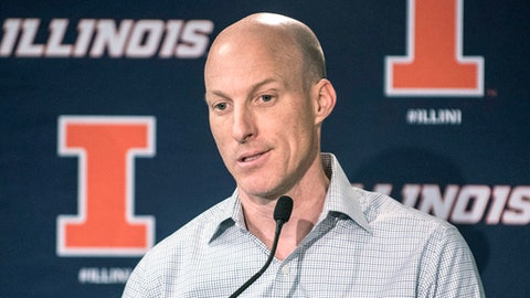 "Former Illinois men's basketball coach John Groce talks to the media after being fired, during a news conference at Memorial Stadium in Champaign, Ill., Saturday March 11, 2107. ""At the end of the day, it's all on me"", Groce said. (John Dixon/The News-Gazette via AP)"
