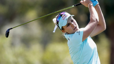 Lexi Thompson hits from sixth tee during the final round of the LPGA Tour ANA Inspiration golf tournament at Mission Hills Country Club in Rancho Mirage, Calif., Sunday, April 2, 2017. (AP Photo/Alex Gallardo)