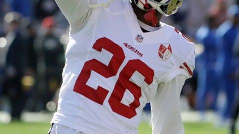 San Francisco 49ers cornerback Tramaine Brock warms up before an NFL football game against the Los Angeles Rams Saturday, Dec. 24, 2016, in Los Angeles. (AP Photo/Rick Scuteri)