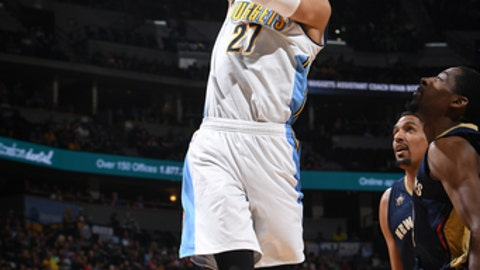 DENVER, CO - APRIL 7:Jamal Murray #27 of the Denver Nuggets shoots the ball against the New Orleans Pelicans on April 7, 2017 at the Pepsi Center in Denver, Colorado. NOTE TO USER: User expressly acknowledges and agrees that, by downloading and/or using this Photograph, user is consenting to the terms and conditions of the Getty Images License Agreement. Mandatory Copyright Notice: Copyright 2017 NBAE (Photo by Garrett Ellwood/NBAE via Getty Images)