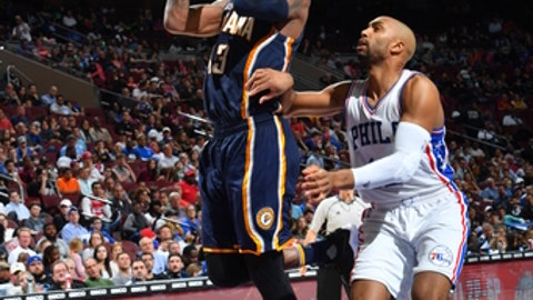 PHILADELPHIA,PA -  APRIL 10 : Paul George #13 of the Indiana Pacers shoots the ball against the Philadelphia 76ers at Wells Fargo Center on April 10, 2017 in Philadelphia, Pennsylvania NOTE TO USER: User expressly acknowledges and agrees that, by downloading and/or using this Photograph, user is consenting to the terms and conditions of the Getty Images License Agreement. Mandatory Copyright Notice: Copyright 2017 NBAE (Photo by Jesse D. Garrabrant/NBAE via Getty Images)