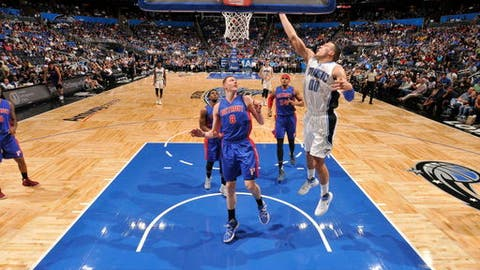 ORLANDO, FL - APRIL 12:  Aaron Gordon #00 of the Orlando Magic ;stb ;against the Detroit Pistons on April 12, 2017 at the Amway Center in Orlando, Florida. NOTE TO USER: User expressly acknowledges and agrees that, by downloading and or using this Photograph, user is consenting to the terms and conditions of the Getty Images License Agreement. Mandatory Copyright Notice: Copyright 2017 NBAE (Photo by Fernando Medina/NBAE via Getty Images)