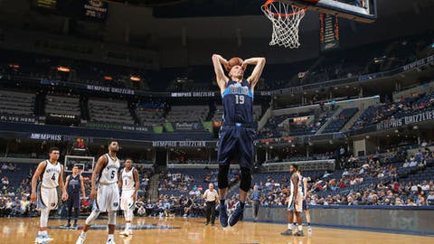 MEMPHIS, TN - APRIL 12:  Jarrod Uthoff #19 of the Dallas Mavericks dunks the ball against the Memphis Grizzlies on April 12, 2017 at FedEx Forum in Memphis, Tennessee. NOTE TO USER: User expressly acknowledges and agrees that, by downloading and/or using this photograph, user is consenting to the terms and conditions of the Getty Images License Agreement. Mandatory Copyright Notice: Copyright 2017 NBAE (Photo by Joe Murphy/NBAE via Getty Images)