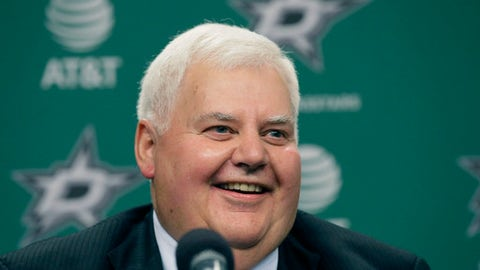 Dallas Stars newly hired NHL hockey team head coach Ken Hitchcock smiles during a news conference in Dallas, Thursday, April 13, 2017. Hitchcock is returning to coach the Stars where he won the Stanley Cup in 1999. He has since coached the Philadelphia Flyers, Columbus Blue Jackets and St. Louis Blues. (AP Photo/LM Otero)