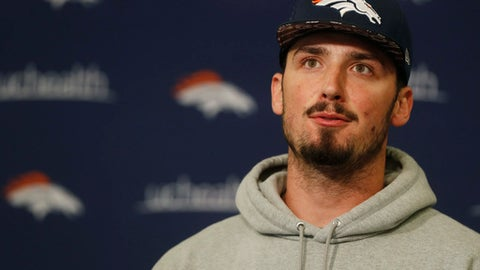 Denver Broncos quarterback Paxton Lynch considers a question during a news conference at the team's headquarters on Thursday, April 13, 2017, in Englewood, Colo. (AP Photo/David Zalubowski)