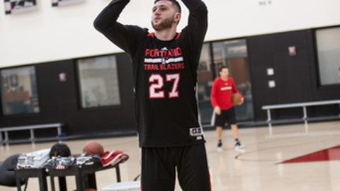 PORTLAND, OR - APRIL 11:  Jusuf Nurkic #27 of the Portland Trail Blazers shoots the ball during an all access practice on April 11, 2017 at the Trail Blazers Practice Facility in Portland, Oregon. NOTE TO USER: User expressly acknowledges and agrees that, by downloading and/or using this photograph, user is consenting to the terms and conditions of the Getty Images License Agreement. Mandatory Copyright Notice: Copyright 2017 NBAE (Photo by Sam Forencich/NBAE via Getty Images)