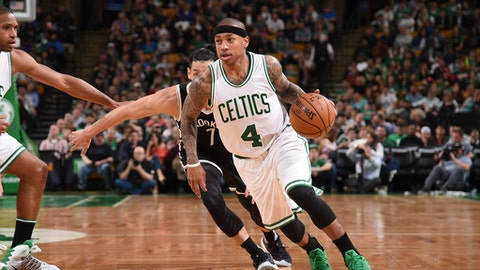 BOSTON, MA - APRIL 10: Isaiah Thomas #4 of the Boston Celtics handles the ball against the Brooklyn Nets on April 10, 2017 at the TD Garden in Boston, Massachusetts.  NOTE TO USER: User expressly acknowledges and agrees that, by downloading and or using this photograph, User is consenting to the terms and conditions of the Getty Images License Agreement. Mandatory Copyright Notice: Copyright 2017 NBAE  (Photo by Brian Babineau/NBAE via Getty Images)
