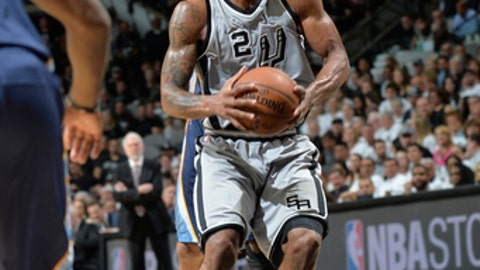 SAN ANTONIO, TX - APRIL 15:  Kawhi Leonard #2 of the San Antonio Spurs handles the ball against the Memphis Grizzlies in Game One of Round One during the 2017 NBA Playoffs on April 15, 2017 at the AT&T Center in San Antonio, Texas. NOTE TO USER: User expressly acknowledges and agrees that, by downloading and or using this photograph, user is consenting to the terms and conditions of the Getty Images License Agreement. Mandatory Copyright Notice: Copyright 2017 NBAE (Photos by Mark Sobhani/NBAE via Getty Images)