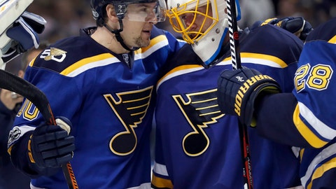 St. Louis Blues goalie Jake Allen right celebrates with Scottie Upshall after the Blues&#039 3-1 victory over the Minnesota Wild in Game 3 of an NHL hockey first-round playoff series Sunday