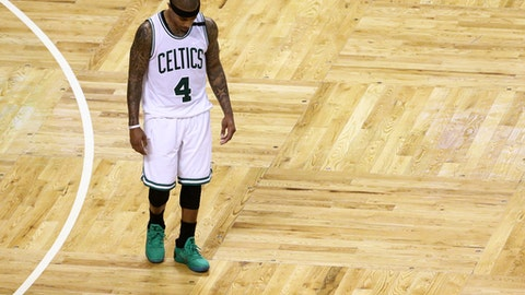 BOSTON, MA - APRIL 16: Isaiah Thomas #4 of the Boston Celtics looks on during the fourth quarter of the Celtics 106-102 loss to the Chicago Bulls during Game One of the Eastern Conference Quarterfinals at TD Garden on April 16, 2017 in Boston, Massachusetts. NOTE TO USER: User expressly acknowledges and agrees that, by downloading and or using this Photograph, user is consenting to the terms and conditions of the Getty Images License Agreement. (Photo by Maddie Meyer/Getty Images)