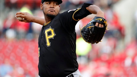Pittsburgh Pirates starting pitcher Ivan Nova throws during the first inning of a baseball game against the St. Louis Cardinals, Monday, April 17, 2017, in St. Louis. (AP Photo/Jeff Roberson)