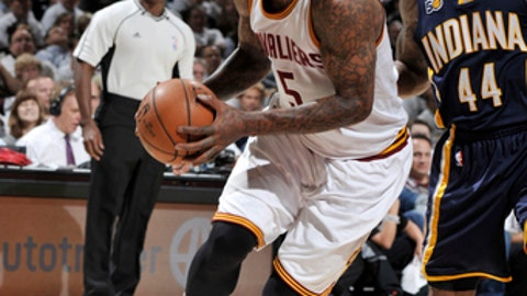 CLEVELAND, OH - APRIL 17:  J.R. Smith #5 of the Cleveland Cavaliers handles the ball against the Indiana Pacers during Game Two of the Eastern Conference Quarterfinals of the 2017 NBA Playoffs on April 17, 2017 at Quicken Loans Arena in Cleveland, Ohio. NOTE TO USER: User expressly acknowledges and agrees that, by downloading and/or using this photograph, user is consenting to the terms and conditions of the Getty Images License Agreement. Mandatory Copyright Notice: Copyright 2017 NBAE (Photo by David Liam Kyle/NBAE via Getty Images)
