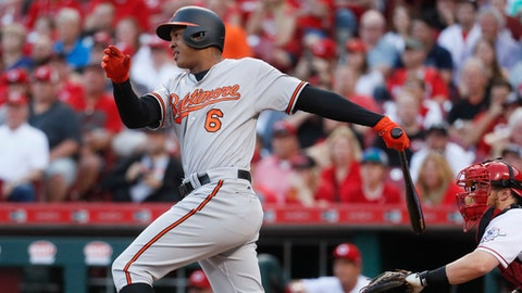Baltimore Orioles' Jonathan Schoop hits an RBI single off Cincinnati Reds starting pitcher Amir Garrett in the second inning of a baseball game, Wednesday, April 19, 2017, in Cincinnati. (AP Photo/John Minchillo)