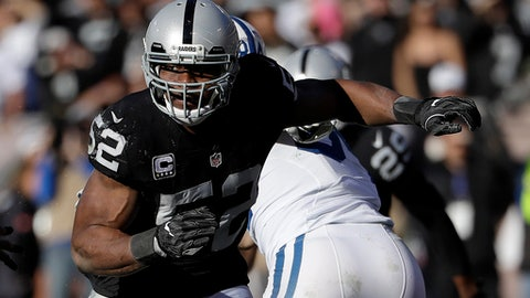 FILE - In this Dec. 24, 2016, file photo, Oakland Raiders defensive end Khalil Mack (52) rushes against the Indianapolis Colts during an NFL football game in Oakland, Calif.  The Raiders exercised the fifth year option of Mack, the team announced Thursday, APril 20, 2017. The reigning Defensive Player of the Year has compiled double-digit sacks each of the past two seasons.  (AP Photo/Marcio Jose Sanchez, File)