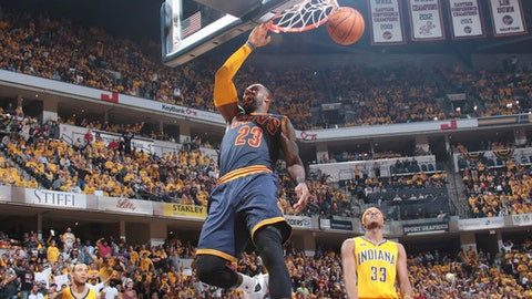 INDIANAPOLIS, IN - APRIL 20:  LeBron James #23 of the Cleveland Cavaliers dunks the ball against the Indiana Pacers during Game Three of the Eastern Conference Quarterfinals of the 2017 NBA Playoffs on April 20, 2017 at Bankers Life Fieldhouse in Indianapolis, Indiana. NOTE TO USER: User expressly acknowledges and agrees that, by downloading and/or using this photograph, user is consenting to the terms and conditions of the Getty Images License Agreement. Mandatory Copyright Notice: Copyright 2017 NBAE (Photo by Ron Hoskins/NBAE via Getty Images)