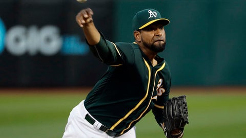 Oakland Athletics starting pitcher Cesar Valdez throws to a Seattle Mariners batter during the second inning of a baseball game Thursday, April 20, 2017, in Oakland, Calif. (AP Photo/Marcio Jose Sanchez)