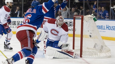 New York Rangers right wing Mats Zuccarello (36) reacts after scoring a goal during the second period of Game 6 of a first-round NHL hockey Stanley Cup playoff series against the Montreal Canadiens, Saturday, April 22, 2017, at Madison Square Garden in New York. (AP Photo/Mary Altaffer)