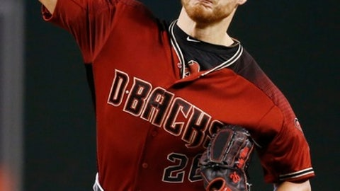 Arizona Diamondbacks' Shelby Miller throws a pitch against the Los Angeles Dodgers during the first inning of a baseball game Sunday, April 23, 2017, in Phoenix. (AP Photo/Ross D. Franklin)