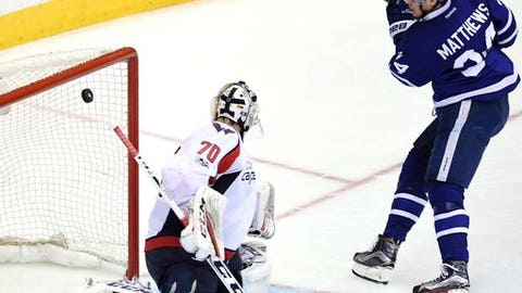 Toronto Maple Leafs center Auston Matthews (34) scores against Washington Capitals goalie Braden Holtby (70)  during the third period of Game 6 of an NHL hockey Stanley Cup first-round playoff series in Toronto on Sunday, April 23, 2017. (Frank Gunn/The Canadian Press via AP)