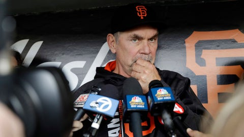 San Francisco Giants manager Bruce Bochy fields questions before a baseball game against the Los Angeles Dodgers, Monday, April 24, 2017, in San Francisco. (AP Photo/Marcio Jose Sanchez)
