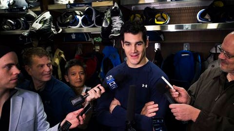 Toronto Maple Leafs center Brian Boyle speaks to the media during an NHL hockey news conference in Toronto on Tuesday, April 25, 2017. The Maple Leafs were eliminated in the first round of the Stanley Cup playoffs by the Washington Capitals. (Nathan Denette/The Canadian Press via AP)