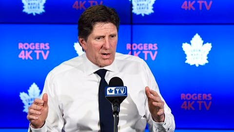 Toronto Maple Leafs head coach Mike Babcock speaks to the media during an NHL hockey news conference in Toronto on Tuesday, April 25, 2017. The Maple Leafs were eliminated in the first round of the Stanley Cup playoffs by the Washington Capitals. (Nathan Denette/The Canadian Press via AP)