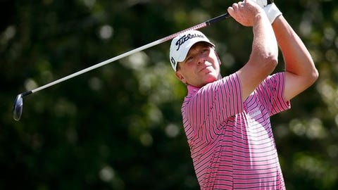 """FILE - In this Sept. 2, 2016, file photo, Steve Stricker tees off on the 17th hole during the first round of the Deutsche Bank Championship golf tournament in Norton, Mass. Stricker always thought it was a long shot, and he recently was reminded that the USGA is tight when it comes to special exemptions for the U.S. Open.""""I wrote them quite a while back and asked for one, and they politely called me and declined,"""" Stricker said. (AP Photo/Michael Dwyer, File)"""