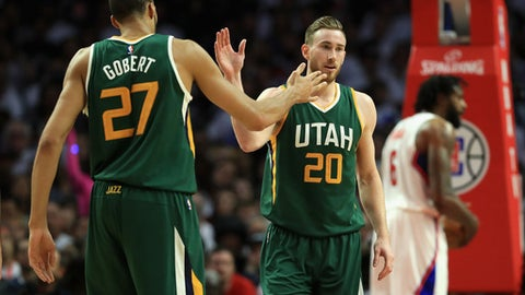 LOS ANGELES, CA - APRIL 25:  Rudy Gobert #27 congratulates Gordon Hayward #20 of the Utah Jazz during the first half of Game Five of the Western Conference Quarterfinals at Staples Center at Staples Center on April 25, 2017 in Los Angeles, California.  NOTE TO USER: User expressly acknowledges and agrees that, by downloading and or using this photograph, User is consenting to the terms and conditions of the Getty Images License Agreement.  (Photo by Sean M. Haffey/Getty Images)