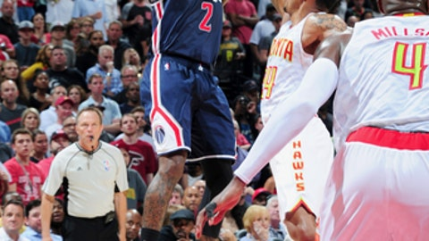 ATLANTA, GA - APRIL 28:  John Wall #2 of the Washington Wizards shoots the ball against the Atlanta Hawks during Game Six of the Eastern Conference Quarterfinals of the 2017 NBA Playoffs on April 28, 2017 at Philips Arena in Atlanta, Georgia.  NOTE TO USER: User expressly acknowledges and agrees that, by downloading and/or using this Photograph, user is consenting to the terms and conditions of the Getty Images License Agreement. Mandatory Copyright Notice: Copyright 2017 NBAE (Photo by Scott Cunningham/NBAE via Getty Images)